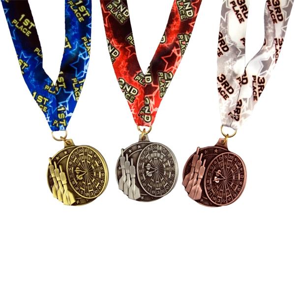 dartshop.dk Dartmedaljer - guld/sølv/bronze fra dartshop